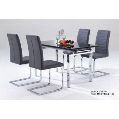 Mistral nagyobbítható asztal, fekete üveggel, több méret