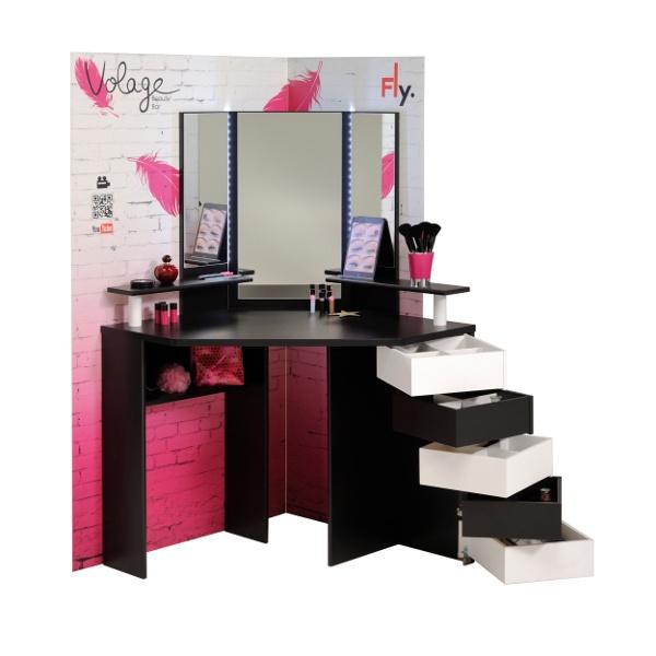 Volage fésülködő asztal, világítással, forgatható fiókokkal, fekete